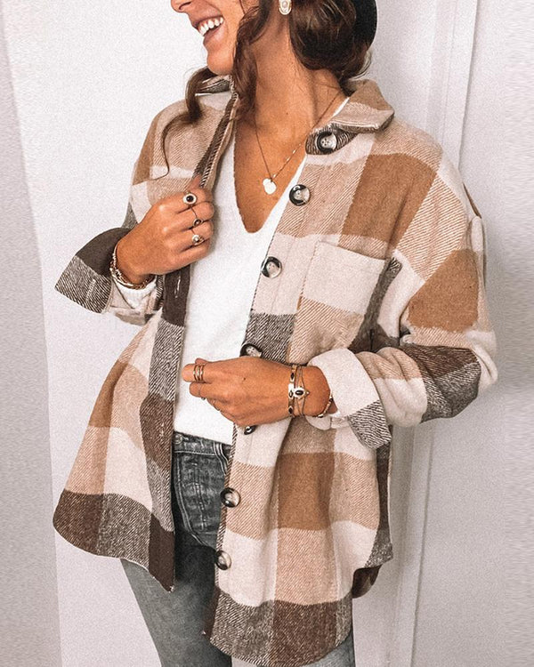 Big Plaid Long Sleeve Button-down Loose Coats