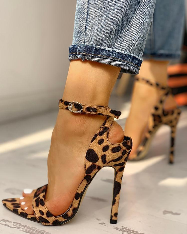 Peep Toe Ankle Strap Thin Heeled Sandal