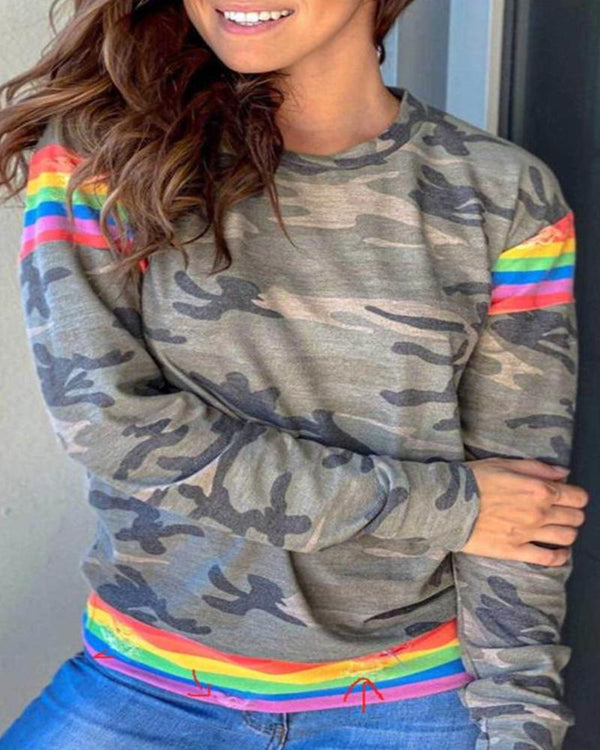 Camouflage Rainbow Long Sleeve Blouse