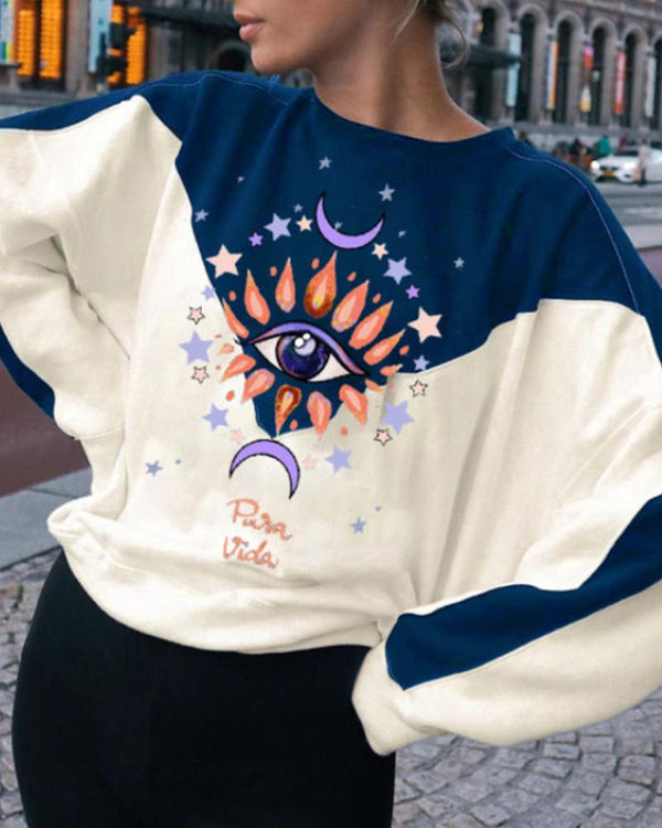 Color Block Cartoon Printing Long Sleeve Sweatshirt