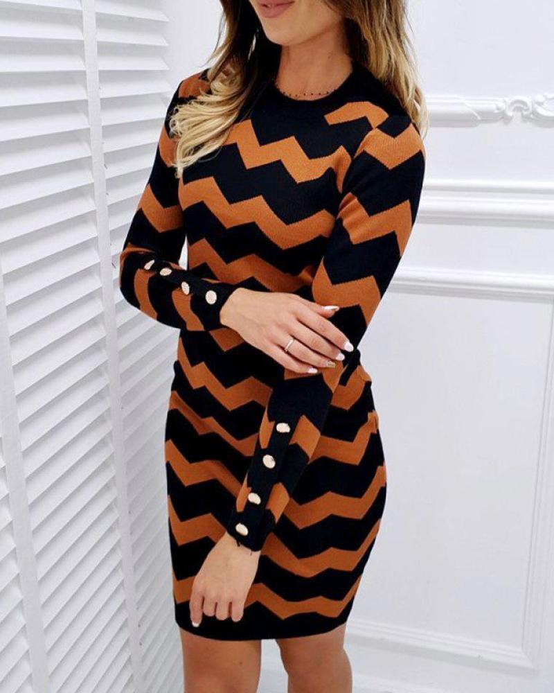 Contrast Stripes Casual Mini Dress