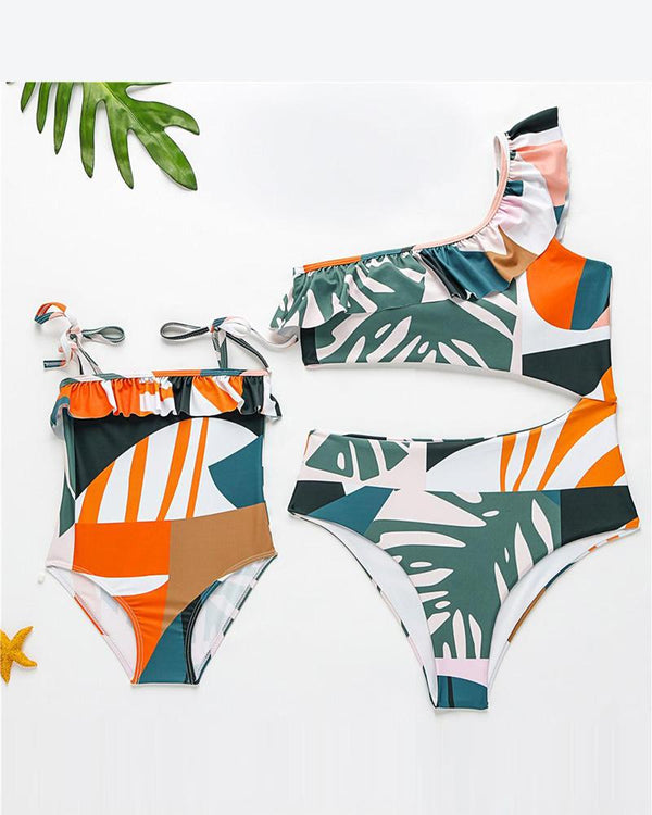 Tropical Print One-Piece Swimsuit For Toddler Girls