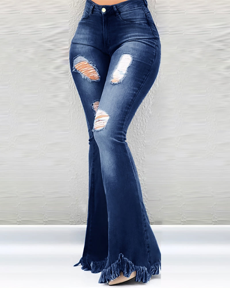 High Waist Bell-Bottom Distressed Tassel Jeans