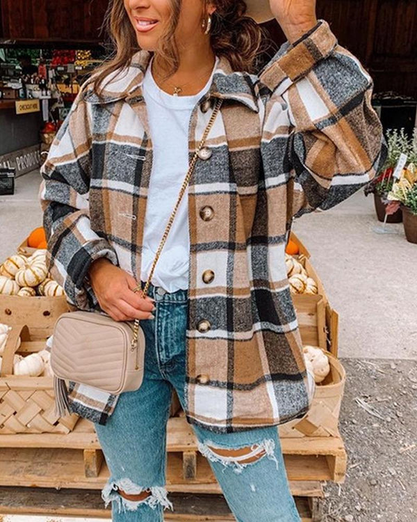 Big Checked Long Sleeve Loose Blouse Coats