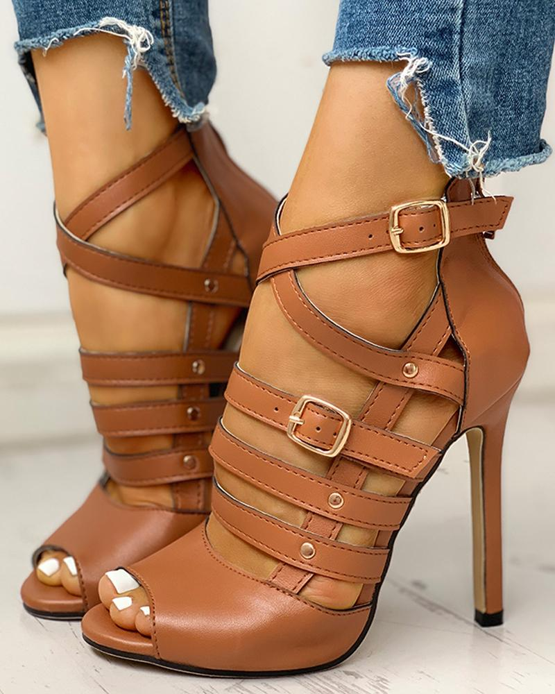 Solid Hollow Out Ankle Strap Thin Heeled Sandals