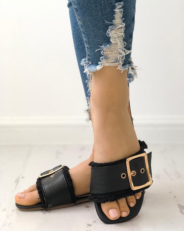 Trendy Belted Buckle Open Toe Flat Sandals