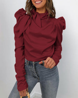 Solid Puff Sleeve Tied Neck Blouse