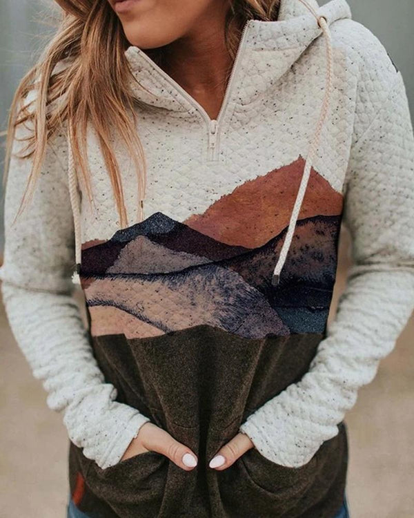 Scenery Printing Long Sleeve Hoodies Sweatshirts