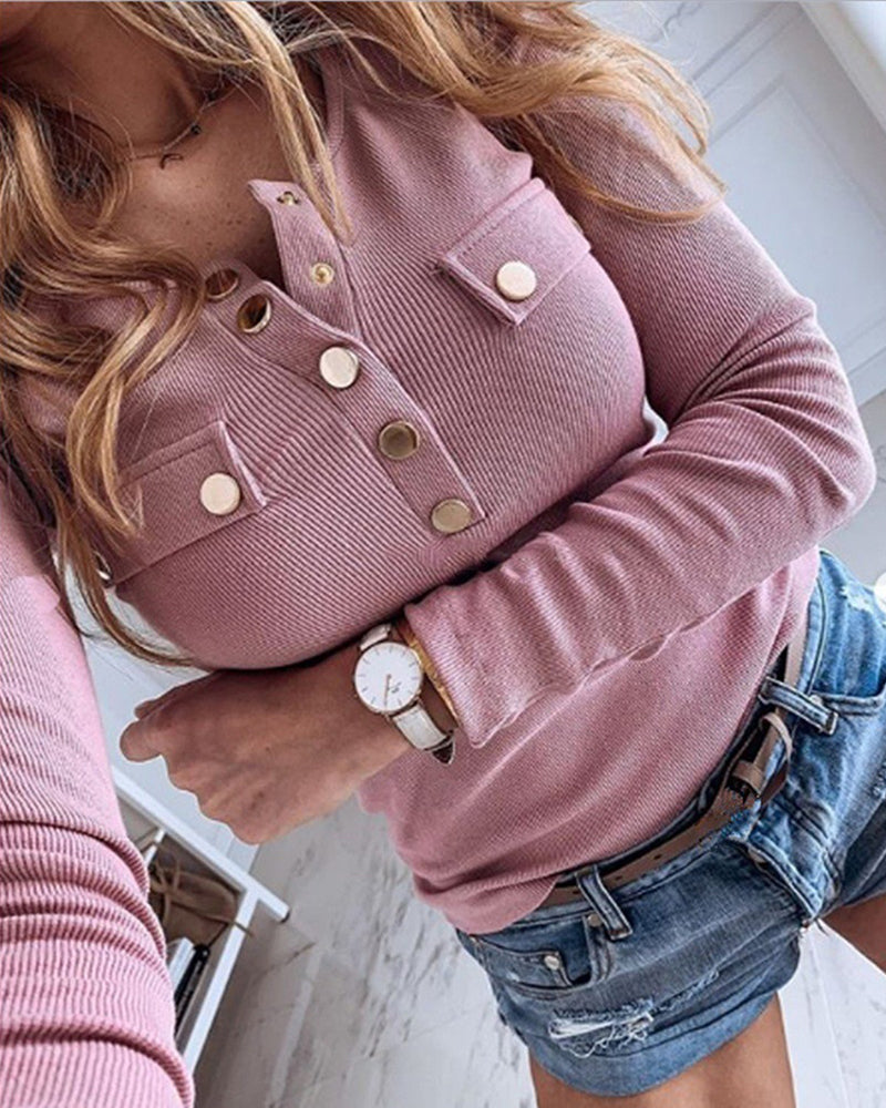 Buttoned Ribbed Long Sleeve Blouse