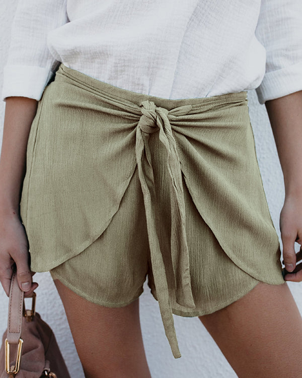 Solid Knotted Culotte Casual Shorts