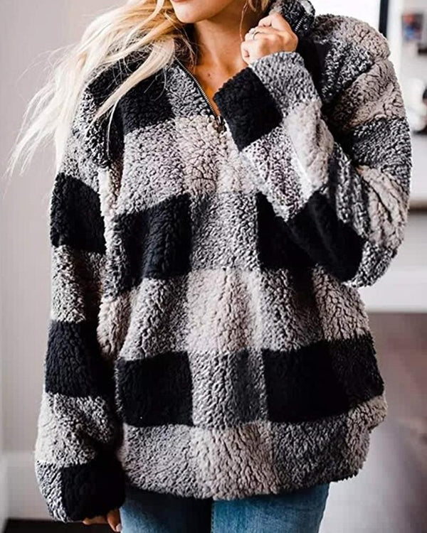 Big Checked Long Sleeve Teddy Sweatshirts