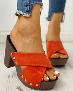Crisscross Design Chunky Heeled Sandals