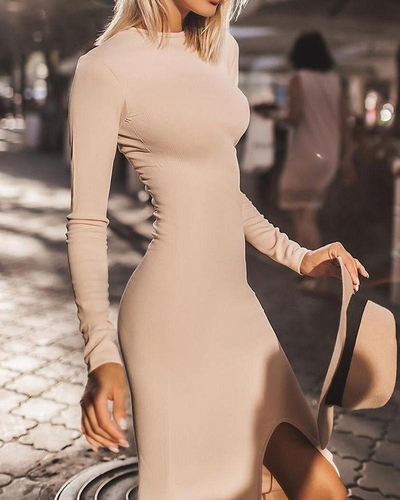 Solid Bodycon Slit Front Dress