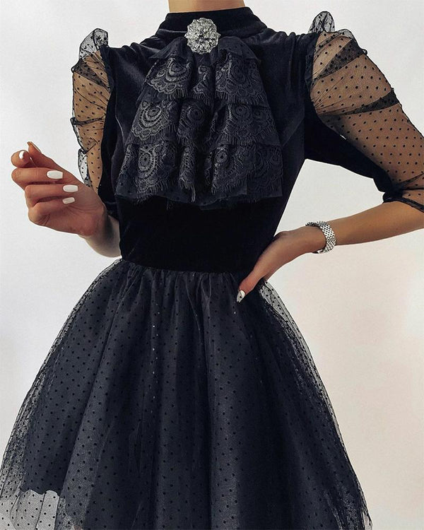 Stitching Lace Puff Sleeve Skinny Waist Dress