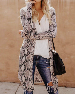 Snakeskin Cheetah Print Long Sleeve Cardigan