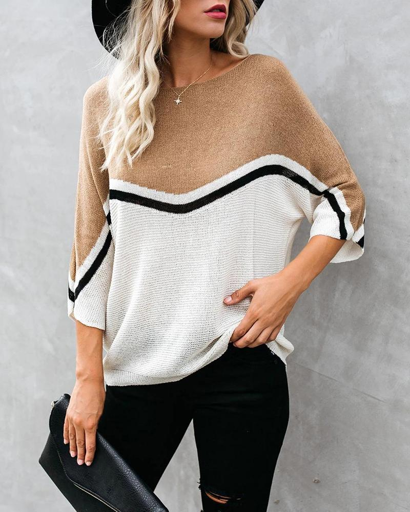 Colorblock Striped Batwing Sleeve Sweater