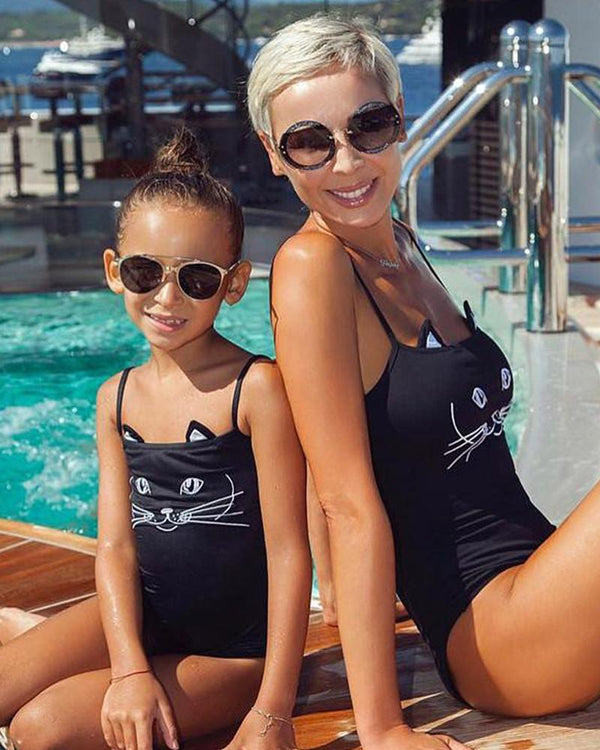 Cat Face One-Piece Swimsuit For Mom
