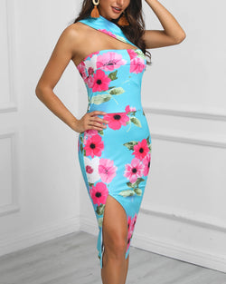 One Shoulder Cutout Floral Print Bodycon Dress