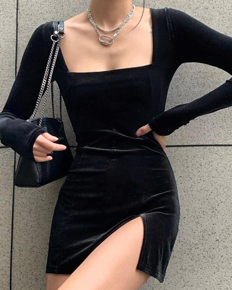 Square Neck Slit Mini Dress