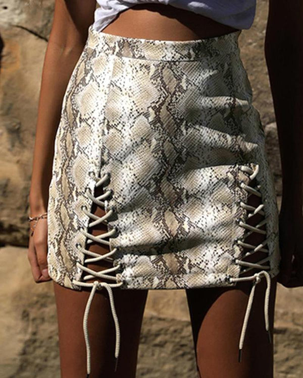 Snake Print Lace-Up Detail Skirt
