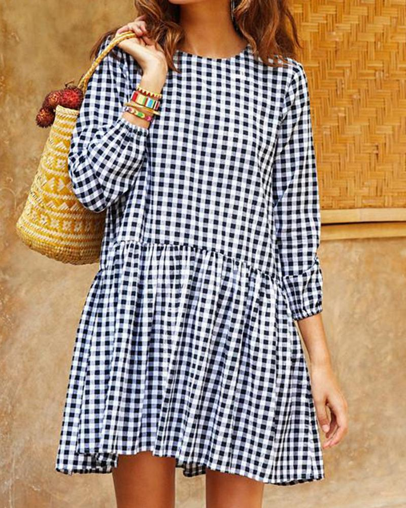 Checkered Print Casual Mini Dress