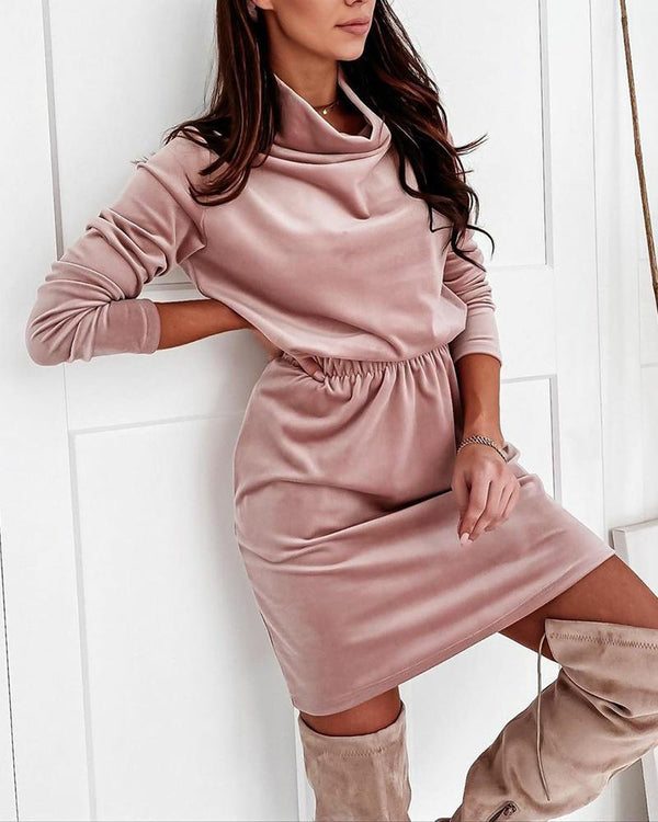 Solid Long Sleeve Loose Velvet Dress