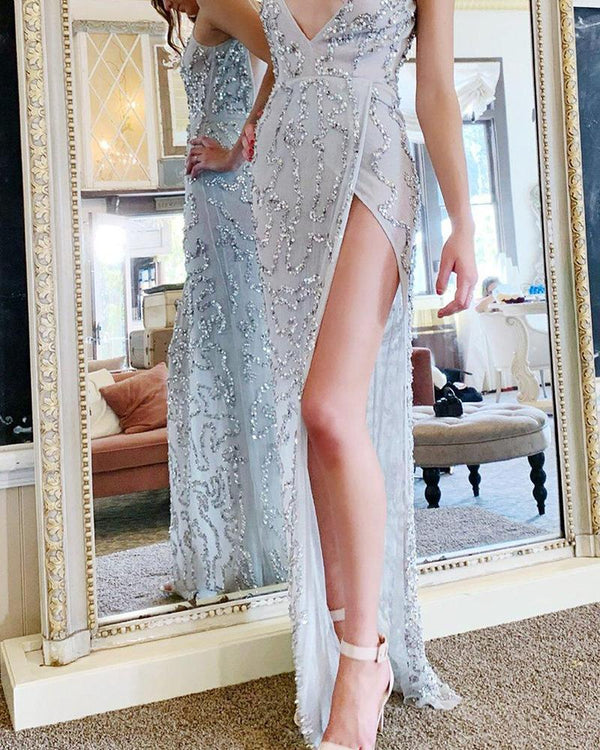 Sequined V Neck Maxi Slit Dress