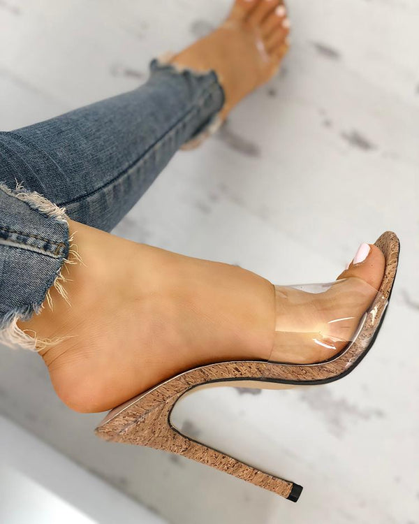 Transparent Single Strap Thin Heeled Sandals