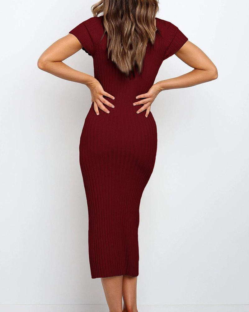 Solid Button Front Midi Dress