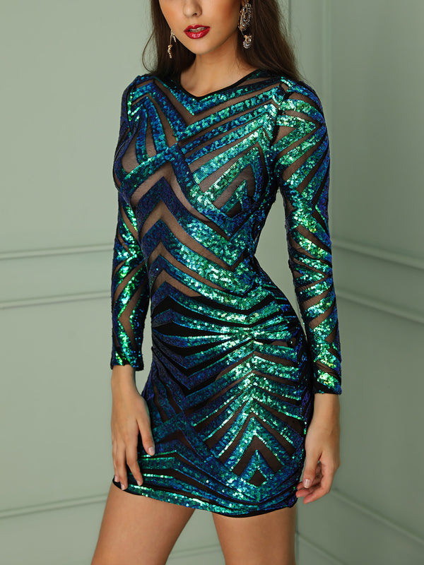 See Through Open Back Mini Sequin Party Dress