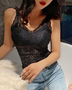 Lace Hollow Out Sleeveless Blouse