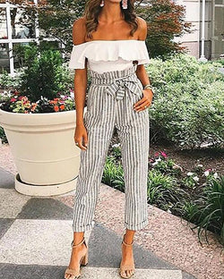 Striped Belted High Waist Roll Up Hem Pants