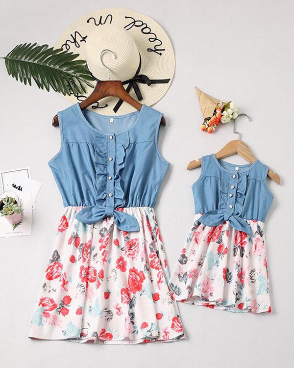 Floral Denim Top Dress For Small Girls