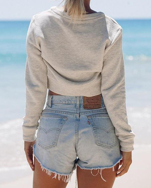 Deep V Lace-Up Front Sweatshirt