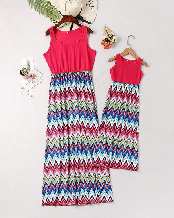 Colorful Chevron Print Maxi Dress For Small Girls