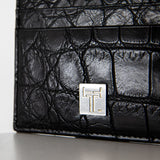 TasteLux Kartenetui schwarzes Krokodil Leder  Black Crocodile leather credit card case