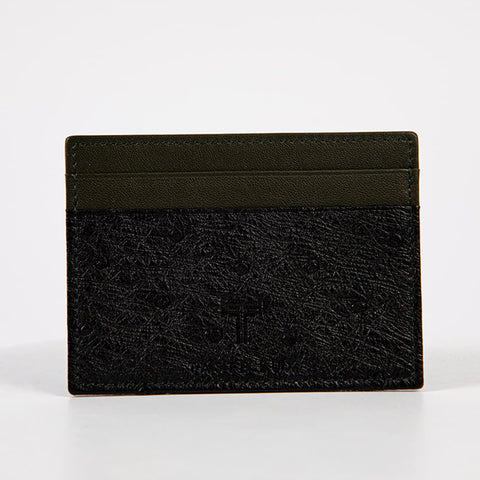 TasteLux Kartenetui Straußenleder grün / schwarz   Ostrich leather card case black green