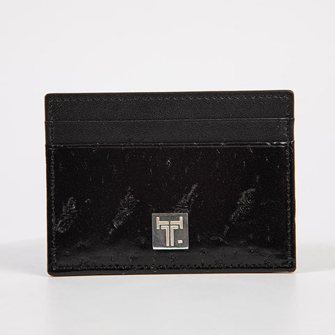 TasteLux Kartenetui Störleder schwarz  - Sturgeon leather card case black