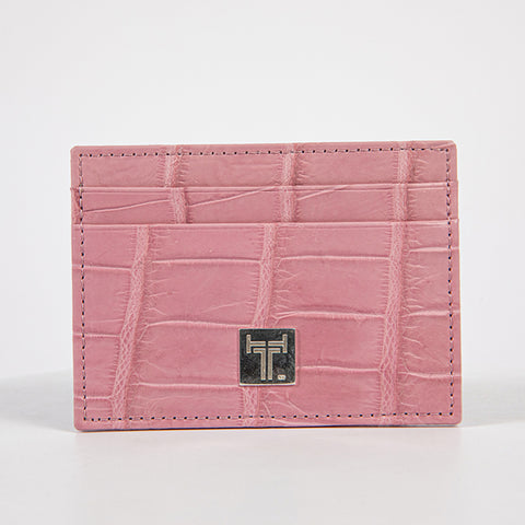 TasteLux Kartenetui Krokodil Leder  rosa       crocodile leather pink credit card case