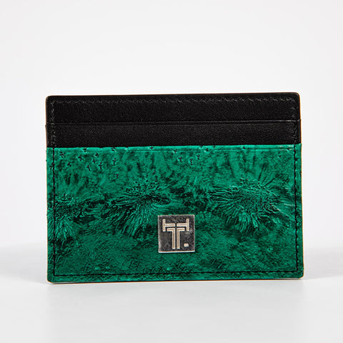 TasteLux Kartenetui Störleder grün  -  Green Credit Card case Sturgeon leather