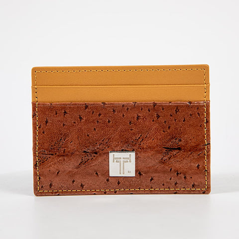 TasteLux Kartenetui Störleder braun / beige  Sturgeon leather credit card case