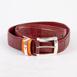 Krokodil Ledergürtel Bordeux  Crocodile leather belt