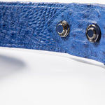 Straussenleder Gürtel Blau  Ostrich leather belt blue