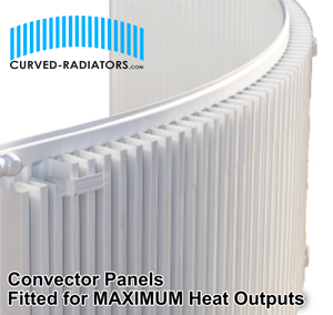 300mm tall curved bay radiator convector type
