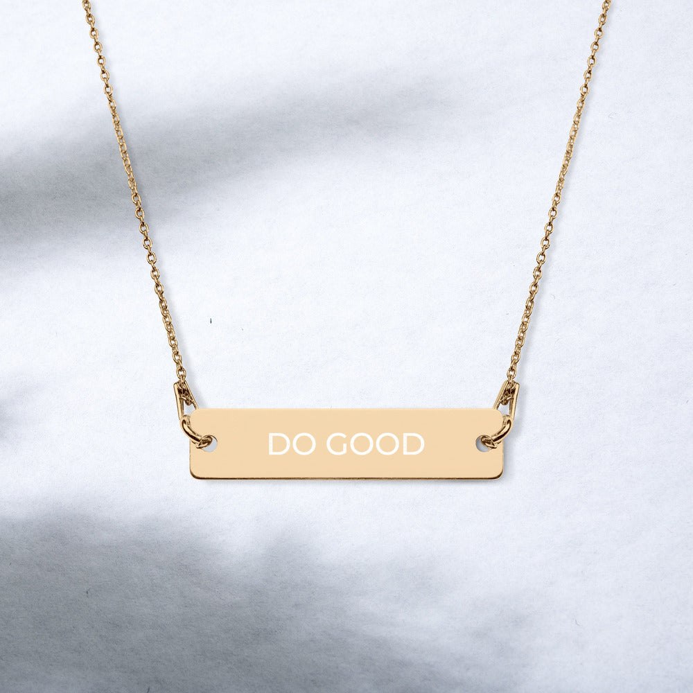 Almsey™ Personalized Engraved Silver Bar Chain necklace