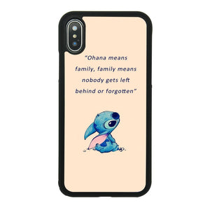 Lilo & Stitch Quote Art Case for iPhone X, iPhone Xs Comic TPU Silicone Gel Edge + PC Bumper Case Skin Protective Custom Designed Printed Phone Protector Full Protection Cover