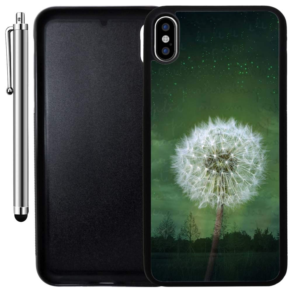 Custom Case Compatible with iPhone Xs MAX (6.5 inch) (Dandelion Forest Fantasy) Edge-to-Edge Rubber Black Cover Ultra Slim | Lightweight | Includes Stylus Pen by Innosub