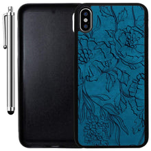 Load image into Gallery viewer, Custom Case Compatible with iPhone Xs MAX (6.5 inch) (Navy Blue Floral Pattern) Edge-to-Edge Rubber Black Cover Ultra Slim | Lightweight | Includes Stylus Pen by Innosub