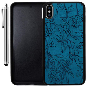 Custom Case Compatible with iPhone Xs MAX (6.5 inch) (Navy Blue Floral Pattern) Edge-to-Edge Rubber Black Cover Ultra Slim | Lightweight | Includes Stylus Pen by Innosub