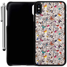 Load image into Gallery viewer, Custom Case Compatible with iPhone Xs MAX (6.5 inch) (Butterflies on Flowers) Plastic Black Cover Ultra Slim | Lightweight | Includes Stylus Pen by Innosub